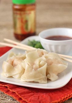 Shrimp and Ginger Dumplings with Sweet Chili Dipping Sauce @FoodBlogs