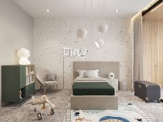Modern Kids Bedroom, Contemporary Bedroom, Neon Bedroom, Bedroom Colors, Cool Kids Rooms, Kids House, Kids Furniture, Boy Room, Decoration