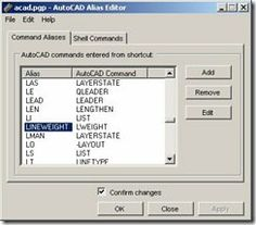 AutoCAD Command aliases list | CAD Notes - shortcut commands and editor list