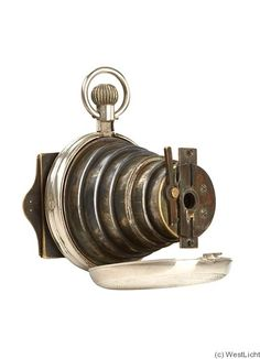 """""""The Lancaster Watch Camera was patented in October 1886 and made until 1890. Such tiny cameras were the forerunners for the 'spy' camera"""""""