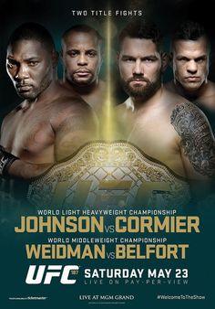 UFC 187 Official Event Poster (Johnson/Cormier, Weidman/Belfort) - Las Vegas 5/23/2015
