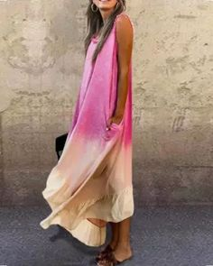 Sleeveless Cotton-Blend Crew Neck Dresses Casual Dresses, Fashion Dresses, Maxi Dresses, Stylish Dresses, Dress Outfits, Fishtail Skirt, Loungewear Set, New Arrival Dress, Maxi Dress With Sleeves