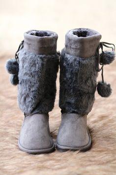 Amy's Grey Faux Fur Lounge Boots