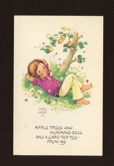 Artist MABEL LUCIE ATTWELL c1960s fashion girl apple tree PPC #MLA 43--Period:Post-War (1945 - Present)
