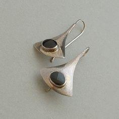 Sale! Orig. $48 A Sensational Pair of Signed Marsala Sterling Silver Earrings in a Modernist Sculptural Design bezel-set with Black Onyx Gemstones,