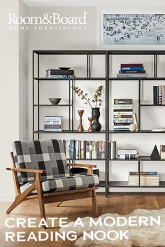 Create a modern reading nook with a comfortable accent chair and bookcase.