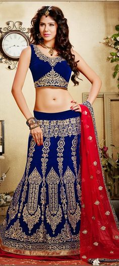 Mehendi & Sangeet Lehenga, Velvet, Border, Lace, Zardozi, Stone, Patch, Blue Color Family