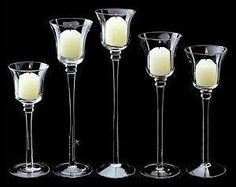 Glass Stemmed Votive Candle Holders   Like these for variation of height