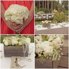 Beautiful, simple flower arrangements and bouquet--white with just a touch of green