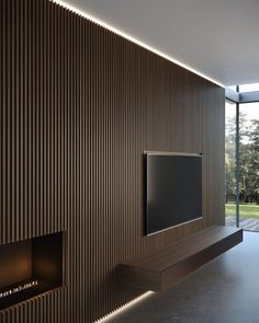 New wall paneling from Moderne Living reinvents the very concept of wall cladding, in a more amplified and contemporary way. 1 Bedroom Apartment, Apartment Interior, Living Room Interior, Home Living Room, Living Area, Wood Slat Wall, Living Room Tv Unit Designs, Tv Wall Decor, Entryway Decor