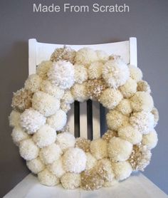 Made From Scratch POM POM Wreath -DIY Christmas! I want to make Christmas tree…