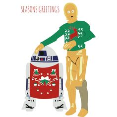 Christmas card - Star Wars - Droids in sweaters R2D2 C3P0
