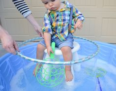 With a little DIY magic, you can take an old kiddie pool from dumpster-ready to super fabulous. Outdoor Activities For Toddlers, Pool Activities, Pool Games To Play, Backyard Water Parks, Backyard Games, Best Ball Pits, Bubble Station, Baby Pool, Bubble Wands