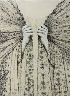Andrea Benson. Repair. Encaustic on wood panel with paper and drawing.