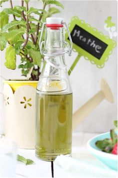 Mint syrup: Super easy to do, we finally found a real taste of menth . Summer Drinks, Cocktail Drinks, Fun Drinks, Cold Drinks, Salsa Dulce, Nutrition Education, Hot Sauce Bottles, Cooking Time, Sweet Recipes