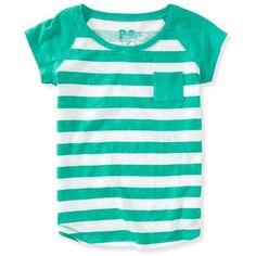 Aeropostale Kids' Striped Raglan Pocket Tee (47 BRL) ❤ liked on Polyvore featuring tops, t-shirts, bluegrass green, striped pocket t shirts, relaxed tee, striped t shirt, stripe tee and aeropostale tees