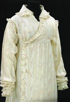 "Ruffled wrapper, ikat muslin, morning dress, Regency era, 1812-14, from ""Nineteenth Century Fashion in Detail"""