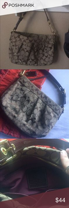 Coach Brown Signature Handbag Coach Brown Signature Handbag.  Gorgeous with magenta lining on the inside.  Practically brand new! Never been used, Excellent condition. Coach Bags Shoulder Bags
