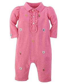 NWT Ralph Lauren Baby Girls Mesh Floral Embroidered Coverall Romper  #RalphLauren #DressyEveryday