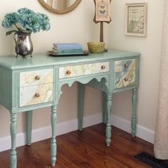 diy furniture makeover - stressed paint w/modge podge map drawers