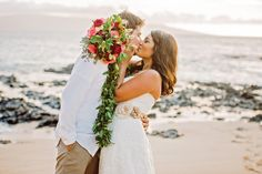 Bridal Bouquet by Petals of Bliss Wedding Design - --- Romantic Maui Beach Elopement: Sarah & Garrett – Brown Sparrow Wedding
