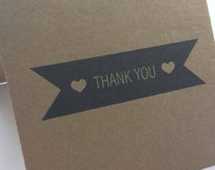 Thank You Cards Set of 20 wedding engagement bridal shower Kraft and black blank cards