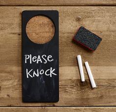 chalkboard door hanger.