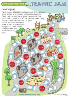 """Printable """"Traffic Jam"""" Coloring Road Trip Game   In the Playroom """"This is a fun combination of a colouring activity and a board game. Kids can race each other to see who can win and arrive at the theme park first."""""""