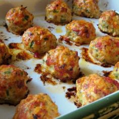 Baked Chicken Meatballs Made these using Italian ground turkey. Added a little parmesan/romano cheese to mixture and when done micro shredded mozzarella on top. Very good.. When I use regular ground chicken or turkey, I add 1t of Italian seasoning per pound of meat.