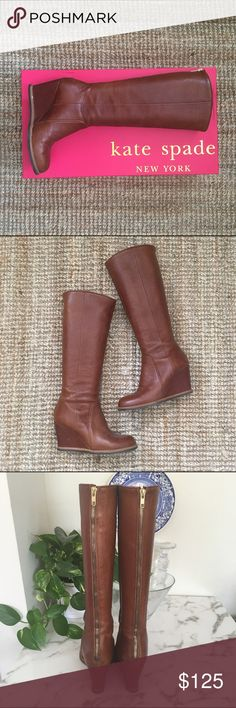 "Kate Spade ""Sanabel"" leather boots. Size 8.5. Kate Spade tall wedge chestnut leather boots. Pre-owned with some wear but in good shape. Easy to walk in and perfect for fall! kate spade Shoes Heeled Boots"
