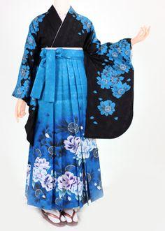 Modern, boldly patterned hakama and kimono set—probably for graduation
