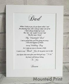 Wedding Father of the Bride gift from Daughter, UNFRAMED Dad gift, Father Daughter Wedding Gift, Wedding Day gift to Dad, Dad Wedding Day Gift – Wedding Ideas Wedding Day Quotes, Wedding Poems, Gifts For Wedding Party, Wedding Speeches, Wedding Stuff, Wedding Gifts For Parents, Wedding Hacks, Wedding Favors, Party Favors