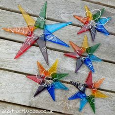 petite rainbow star :: 9cm fused glass lightcatcher