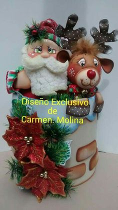 Santa y reno Best Christmas Gifts, Christmas And New Year, Christmas 2019, Christmas Home, Christmas Crafts, Christmas Ornaments, Clay Jar, Candy Bouquet, Present Gift