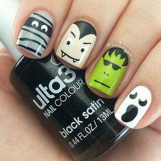 personajes de halloween en tus uñas