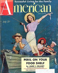 Vintage American magazine woman fishing www.lodgemonster.com
