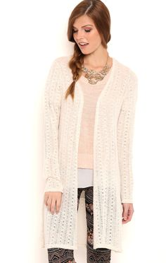 Deb Shops Long Sleeve Textured Duster with Crochet Back $21.75
