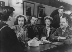 """Harold Russell, Teresa Wright, Dana Andrews, Myrna Loy, Fredric March, & Hoagy Carmichael in """"The Best Years of Our Lives"""""""