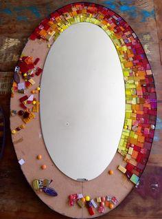 Think mosaic. Mosaic Artwork, Mosaic Wall Art, Mirror Mosaic, Mosaic Diy, Mosaic Crafts, Mosaic Projects, Diy Wall Art, Mosaic Glass, Mirror Painting