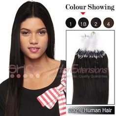 16 Inch 50s Micro Loop Ring Grade AAA Remy Hair Extensions (#1B Natural Black)