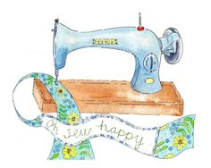 "Retro Vintage Style Art Print  ""Oh Sew Happy"" Sewing Machine green yellow blue Poster 8"" x 10"". $22.00, via Etsy."