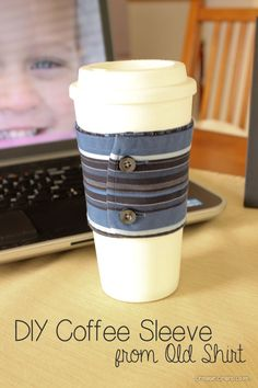 Use a shirt sleeve as a quick and easy DIY coffee sleeve for all your hot coffees this fall!