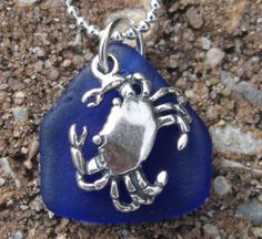 sea glass and blue crab