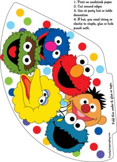 Party Hat, Sesame Street, Party Hats - Free Printable Ideas from Family Shoppingbag.com