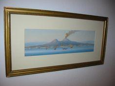 "Corelli, 19 Cent. watercolor ""Capri Volcano"" , acid free updated mat, original frame!"