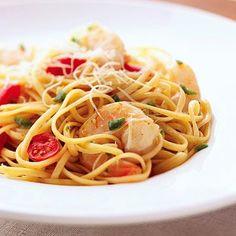 Spicy Jalapeño Shrimp Pasta - Diabetic - shrimp - linguine - 2 jalapenos - 2 garlic cloves - cherry tomatoes - salt - pepper