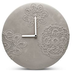 MENSCH MADE | Concrete Wall Clock | Lace Pattern. Modern minimalist concrete wall clock with beautiful delicate lace patterns and white hands. (diameter 27.00 cm)
