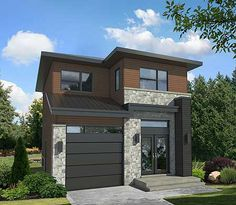 Compact Two-Story Contemporary House Plan - thumb - 08 Modern Tiny House, Contemporary House Plans, Modern House Plans, Modern House Design, Contemporary Style, Split Level House Plans, Narrow Lot House Plans, Two Story House Plans, Style At Home