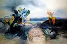 """This Painting Life: James Gleeson - Forgotten Surrealists artist James Gleeson known as """"the father of Australian Surrealism"""" Australian Painters, Australian Art, Henry Thomas, Canvas Signs, Surrealism, Oil On Canvas, Street Art, The Incredibles, Fine Art"""
