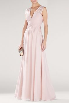 "Brides: BCBGMAXAZRIA. ""Astella"" sleeveless V-neck chiffon, $448, BCBGMAXAZRIA available at Bloomingdale's"